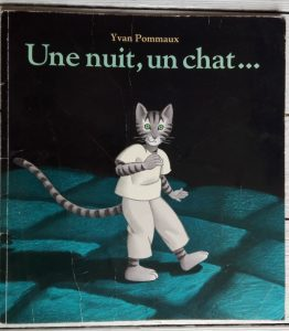 Dans ce livre, un petit chat est amené à sortir tout seul pour la première fois la nuit. Il va faire une belle rencontre (une autre petite chatte) mais aussi va être confronté à un grand danger (le rat d'égout). Heureusement qu'il n'est finalement pas si seul que ça n'est pas très loin !